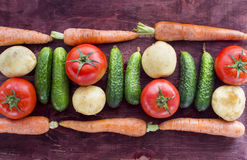 Vegetables on brown wood surface Stock Photo