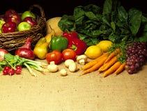 Vegetables on Burlap. Background Stock Photos