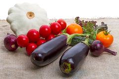 Vegetables on burlap Royalty Free Stock Images