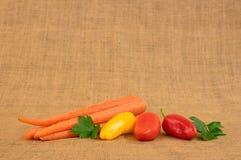 Vegetables on Burlap Sack. Some fresh garden vegetables on a burlap sack Royalty Free Stock Image