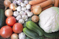 Vegetables. Cabbage, tomato, cucumber, onion, carrot and garlic, close up Royalty Free Stock Photo