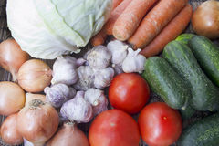 Vegetables. Cabbage, tomato, cucumber, onion, carrot and garlic, close up Royalty Free Stock Photography