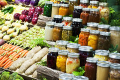 Vegetables and canned goods. Display of vegetables and canned goods Royalty Free Stock Image