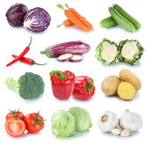 Vegetables carrots fresh bell pepper potatoes lettuce tomatoes c. Ollection isolated on a white background Royalty Free Stock Image