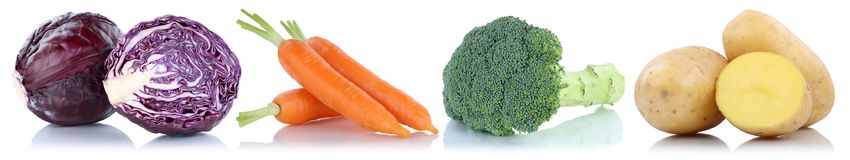 Vegetables carrots fresh food vegetable potatoes isolated in a r Royalty Free Stock Images