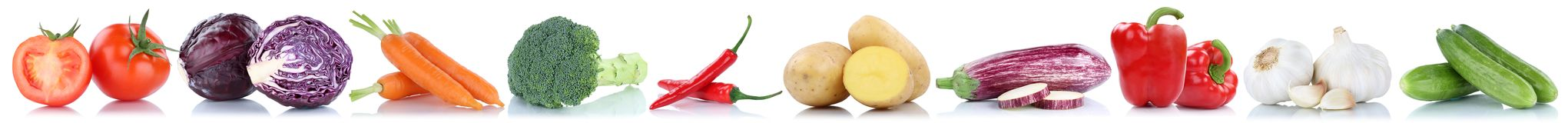 Vegetables carrots fresh food vegetable potatoes tomatoes cucumb. Er isolated in a row on a white background Stock Photos