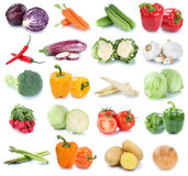 Vegetables carrots fresh lettuce onion tomatoes collection isola Stock Photos