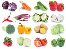 Vegetables carrots fresh lettuce tomatoes collection isolated Stock Photography
