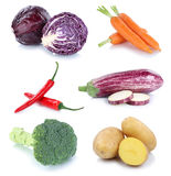 Vegetables carrots fresh potatoes collection isolated Stock Image