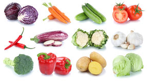 Vegetables carrots fresh potatoes lettuce tomatoes collection is Stock Photo