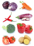 Vegetables carrots fresh potatoes tomatoes collection isolated Royalty Free Stock Photography