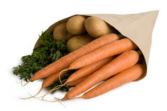 Vegetables, carrots, potatoes. Mixed vegetables isolated on white background Stock Photography