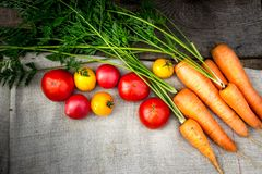 Vegetables carrots and tomatoes from the cottage. Farmer`s natural carrots and tomatoes vegetables from beds and greenhouses Royalty Free Stock Photography