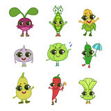 Vegetables Cartoon Characters Collection Stock Photo