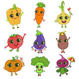 Vegetables Cartoon Characters Set Stock Images