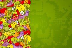 Vegetables cartoon doodle background design. Royalty Free Stock Images