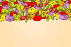 Vegetables cartoon doodle background design. Royalty Free Stock Photos