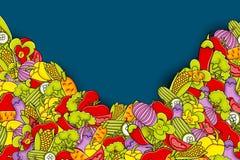 Vegetables cartoon doodle background design. Stock Photos