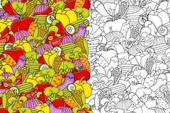 Vegetables cartoon doodle background design. Stock Photography