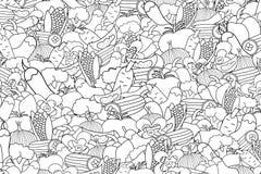 Vegetables cartoon doodle background design. Stock Image