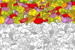 Vegetables cartoon doodle background design. Stock Photo