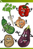 Vegetables cartoon illustration set Royalty Free Stock Image