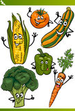 Vegetables cartoon illustration set Royalty Free Stock Photography