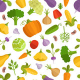 Vegetables cartoon illustration. Vector seamless pattern Stock Images