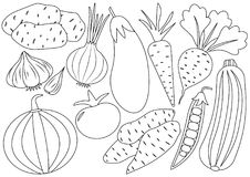 Vegetables cartoon set, icons. Coloring book. Vector illustration royalty free illustration