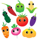 Vegetables cartoon set Royalty Free Stock Photography