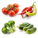 Vegetables. Caucumber, tomato, broccoli, pepper chili isolated on white Royalty Free Stock Images