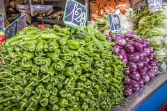 Vegetables, Central market of Malaga city, Spain Royalty Free Stock Photography
