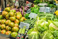 Vegetables in the Central Market of Valencia, Spain Royalty Free Stock Images