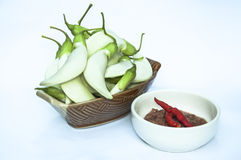 Vegetables in ceramic bowl and Spicy Chili Paste. Royalty Free Stock Image