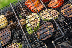Vegetables char-grilled over flame Stock Photography