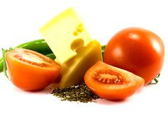 Vegetables and cheese. On white Royalty Free Stock Photo