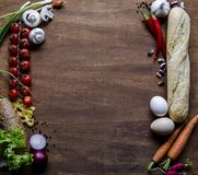 Vegetables, cheese, bread and eggs on wood. Bio Healthy food, herbs and spices. Organic vegetables on wood. Mock up with. Vegetables royalty free stock photos