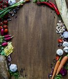 Vegetables, cheese, bread on wood. Bio Healthy food, herbs and spices. Organic vegetables on wood. Mock up with. Vegetables royalty free stock photography