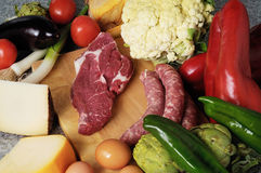 Vegetables cheese and sausage Royalty Free Stock Photography