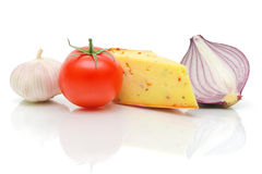 Vegetables and cheese on white background close-up Royalty Free Stock Images