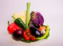 Vegetables. Cherry tomato, eggplant, onion, garlic, purple cabbage, lettuce and parsley Stock Images