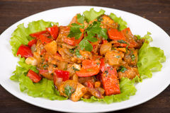Vegetables with chicken in a curry sauce Stock Images