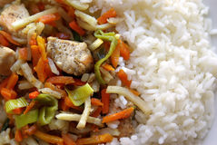 Vegetables with chicken and rice. Plate of vegetables with chicken and rice Royalty Free Stock Photography