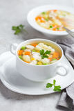 Vegetables and chicken soup Royalty Free Stock Images