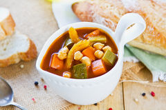 Vegetables with Chickpea soup Royalty Free Stock Photos