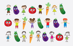 Vegetables and children Stock Photos