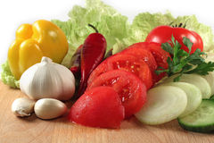Vegetables: chili, onion, garlic, tomatoes Stock Photo