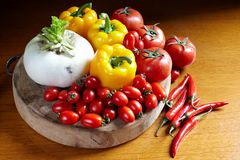 Vegetables  on chopping board Stock Image