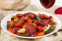 Vegetables with chorizo Royalty Free Stock Photo