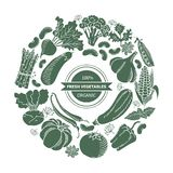 Vegetables in a circle. Eat healthy food poster with fresh fruits and vegetables on blackboard. Circle composition from food Royalty Free Stock Photo